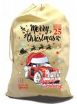 X-Large Cotton Drawcord Koolart Christmas Santa Sack Stocking Gift Bag With Classic Mini Works Image
